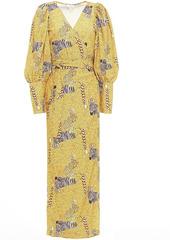 Rhode Woman Aspen Printed Crepe Midi Wrap Dress Saffron