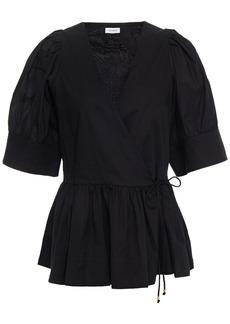 Rhode Woman Ava Gathered Cotton-poplin Wrap Top Black