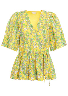 Rhode Woman Ava Gathered Printed Cotton-poplin Wrap Top Yellow