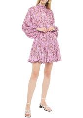 Rhode Woman Caroline Gathered Printed Crepe De Chine Mini Dress Pink