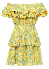 Rhode Woman Dotty Off-the-shoulder Tiered Printed Cotton-poplin Mini Dress Yellow
