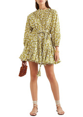Rhode Woman Ella Belted Floral-print Cotton-poplin Mini Dress Yellow