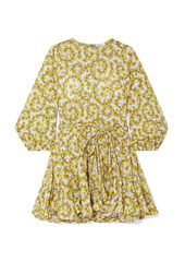 Rhode Woman Ella Belted Floral-print Cotton-poplin Mini Dress Yellow