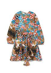 Rhode Woman Ella Belted Printed Cotton-poplin Mini Dress Multicolor
