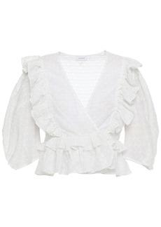 Rhode Woman Elodie Cropped Ruffled Fil Coupé Cotton-blend Wrap Blouse White
