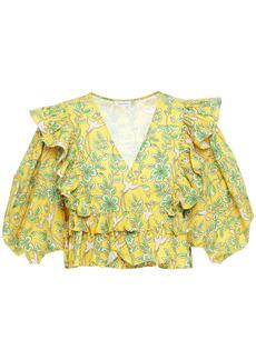 Rhode Woman Elodie Cropped Ruffled Printed Cotton-poplin Wrap Blouse Yellow