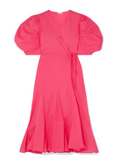 Rhode Woman Fiona Cotton-poplin Midi Wrap Dress Fuchsia