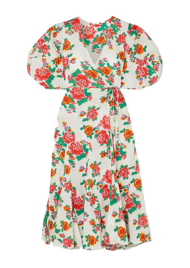 Rhode Woman Fiona Floral-print Cotton-poplin Midi Wrap Dress White