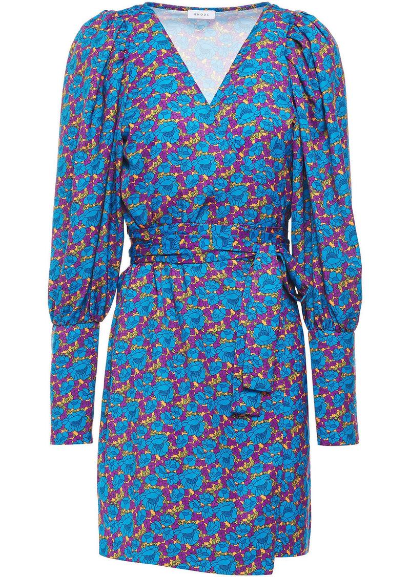 Rhode Woman Frankie Gathered Floral-print Satin Mini Wrap Dress Bright Blue
