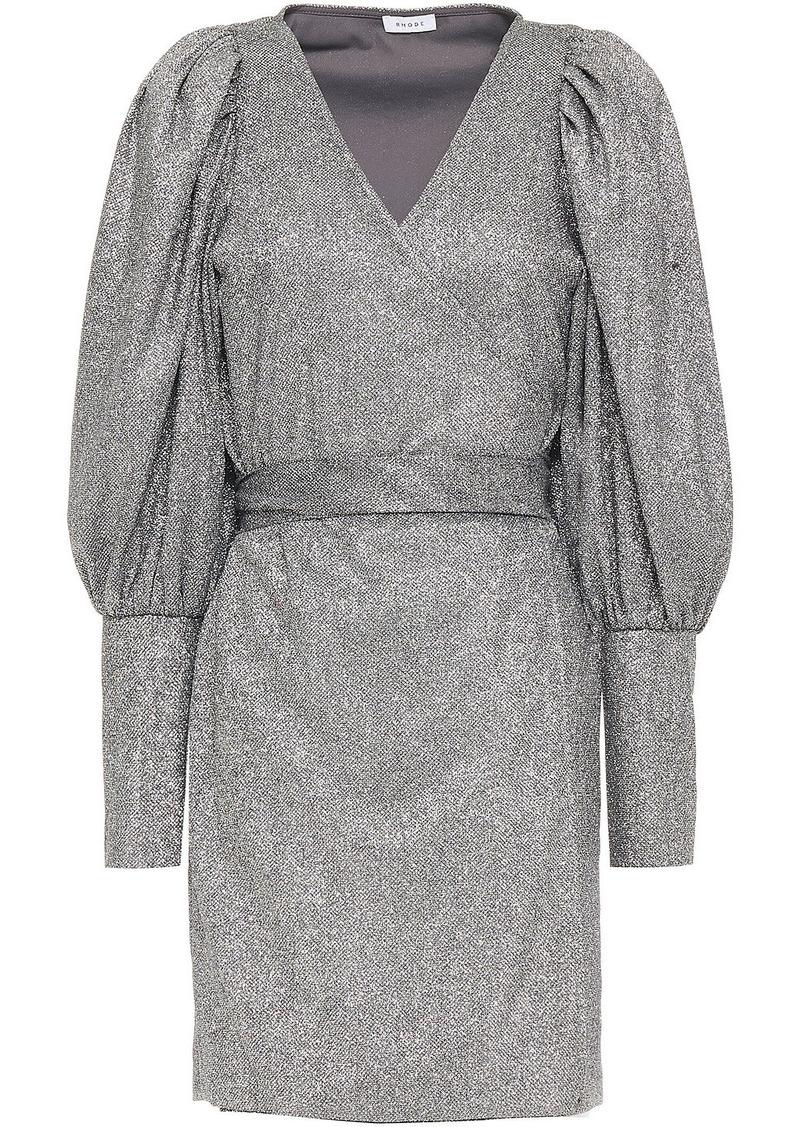 Rhode Woman Frankie Gathered Lamé Mini Wrap Dress Silver