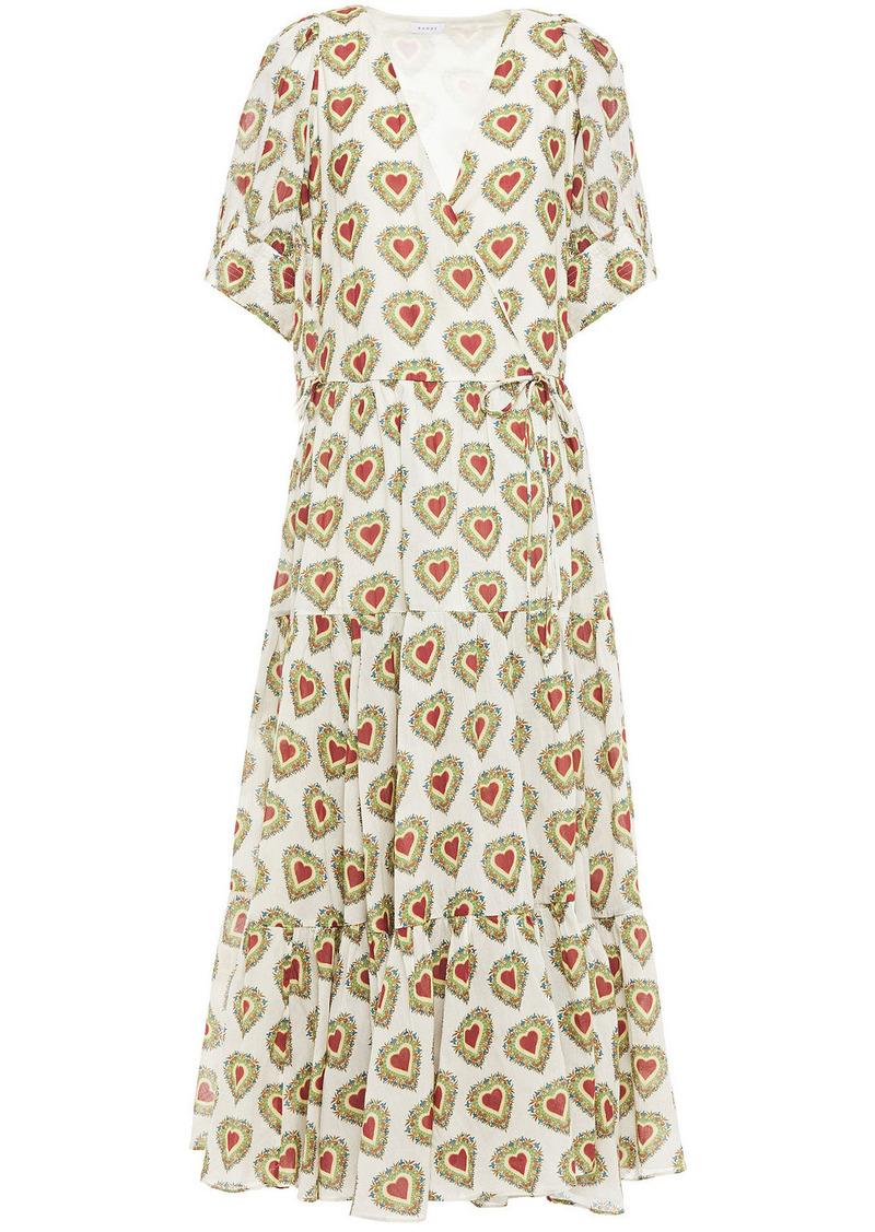 Rhode Woman Gina Gathered Printed Cotton Midi Wrap Dress Ecru