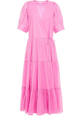 Rhode Woman Gina Tiered Cotton Midi Wrap Dress Pink
