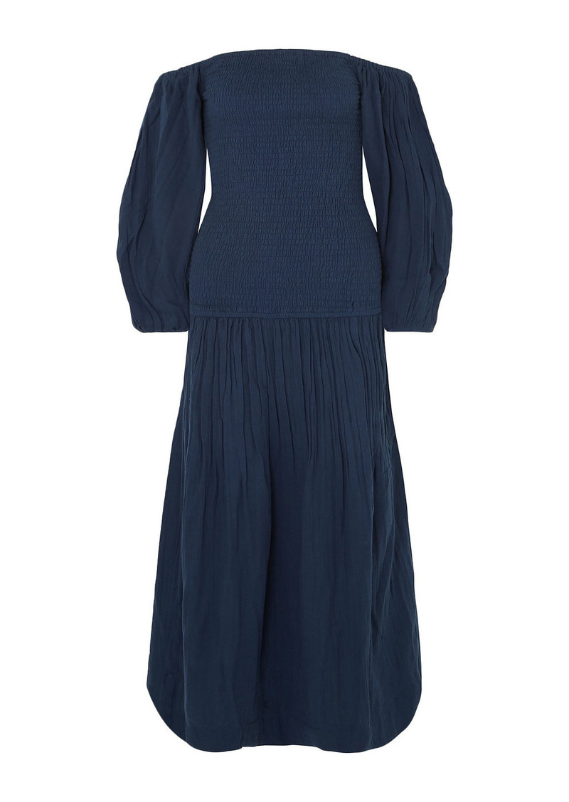 Rhode Woman Harper Smocked Cotton-gauze Midi Dress Navy