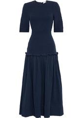 Rhode Woman Harper Shirred Cotton-gauze Midi Dress Navy