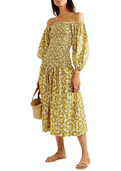 Rhode Woman Harper Smocked Cotton-gauze Midi Dress Yellow