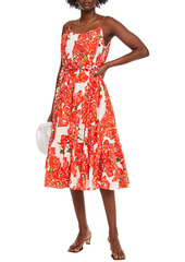 Rhode Woman Lea Belted Gathered Floral-print Cotton Midi Dress Papaya