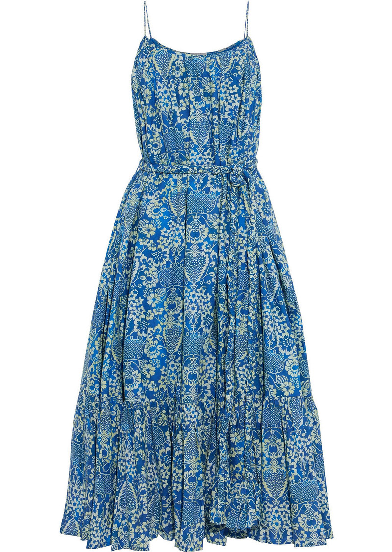 Rhode Woman Lea Belted Printed Cotton-poplin Midi Dress Blue