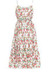 Rhode Woman Lea Gathered Floral-print Cotton-poplin Midi Dress White