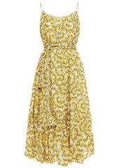 Rhode Woman Lea Gathered Floral-print Cotton-poplin Midi Dress Yellow