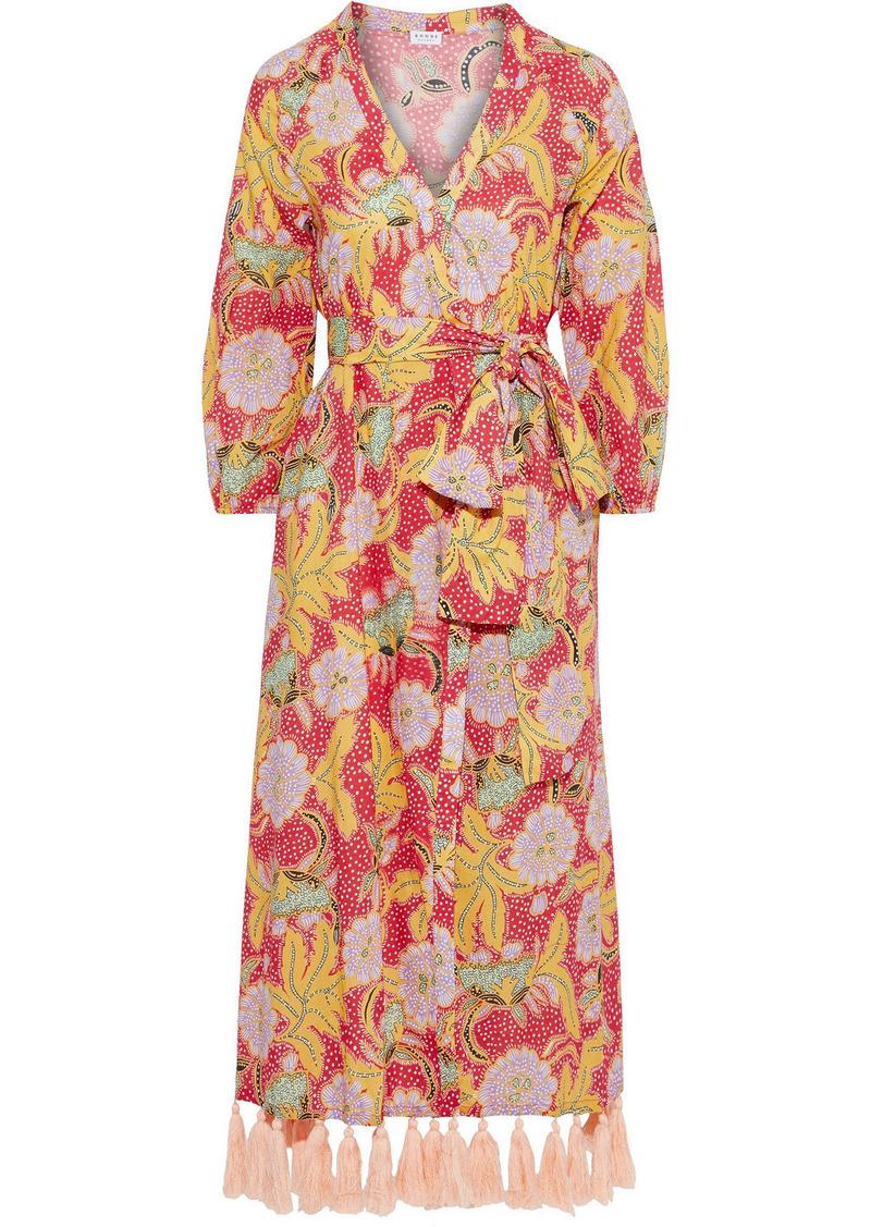 Rhode Woman Lena Tassel-trimmed Printed Cotton-voile Midi Wrap Dress Red