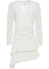 Rhode Woman Lola Asymmetric Broderie Anglaise Cotton Mini Dress Ivory