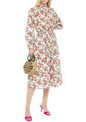 Rhode Woman Mai Gathered Floral-print Cotton-poplin Midi Dress White