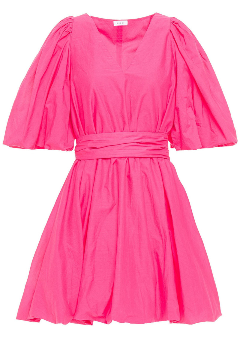 Rhode Woman Marni Gathered Cotton Dress Fuchsia