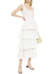 Rhode Woman Naomi Tiered Broderie Anglaise Cotton Midi Dress White