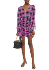 Rhode Woman Piper Ruched Printed Cotton Mini Dress Magenta