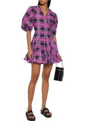 Rhode Woman Rosie Fluted Printed Cotton Mini Wrap Dress Fuchsia
