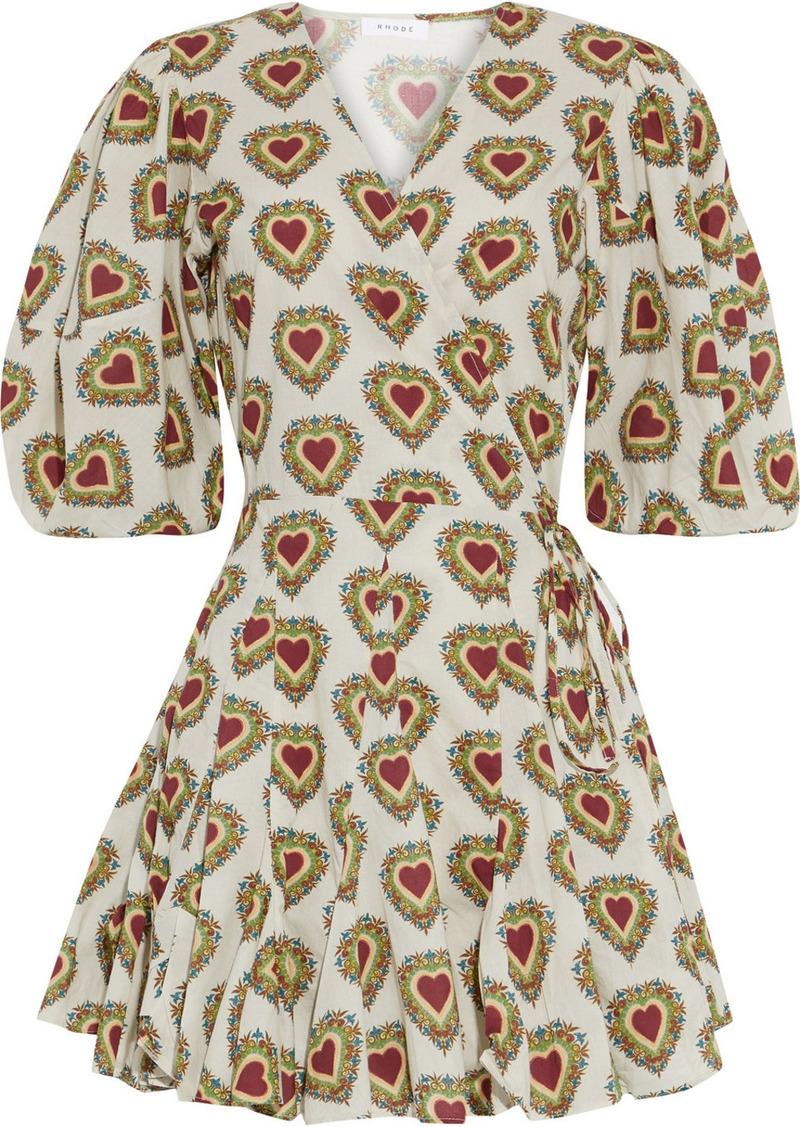 Rhode Woman Rosie Printed Cotton Mini Wrap Dress Ecru