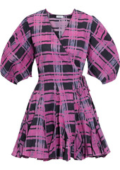 Rhode Woman Rosie Gathered Printed Cotton-broadcloth Mini Wrap Dress Fuchsia