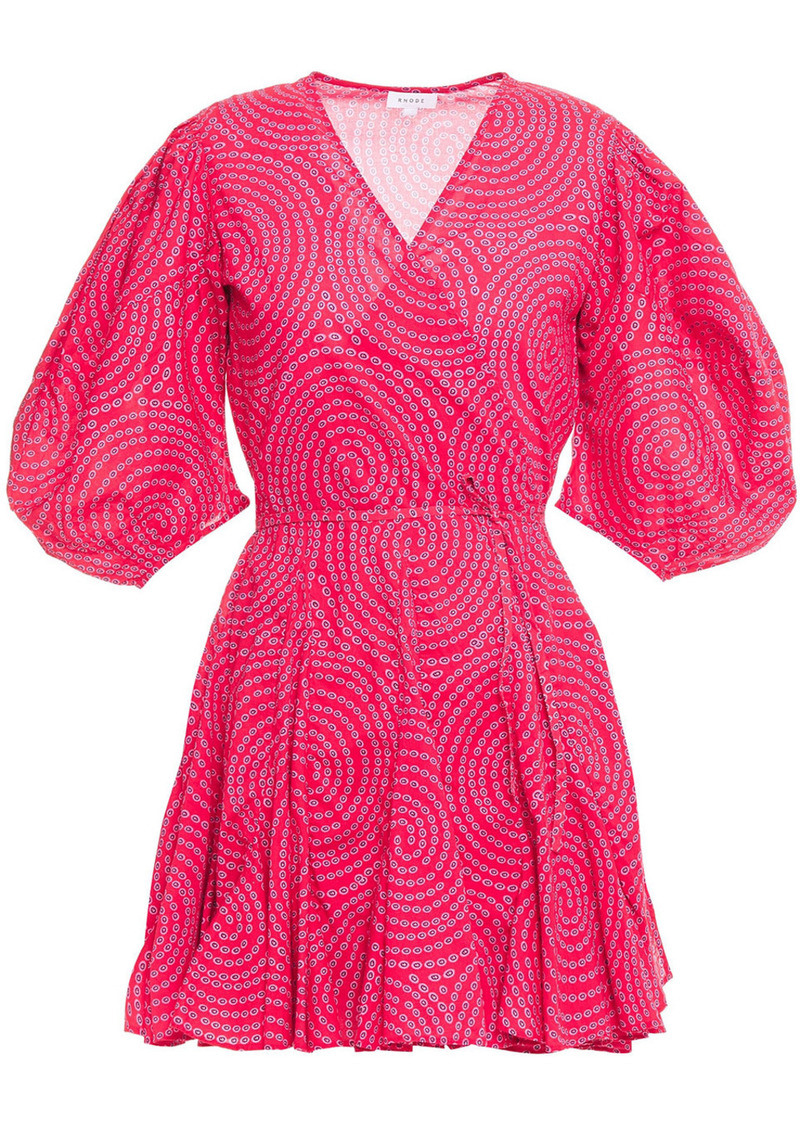 Rhode Woman Rosie Printed Cotton Mini Wrap Dress Crimson