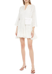 Rhode Woman Ryan Belted Broderie Anglaise Cotton Mini Dress White