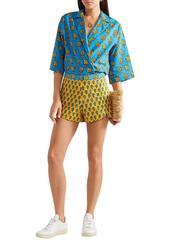 Rhode Woman Sami Floral-print Cotton Shorts Saffron