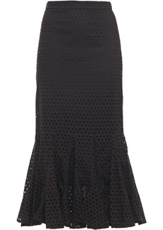 Rhode Woman Sienna Fluted Broderie Anglaise Cotton Midi Skirt Black