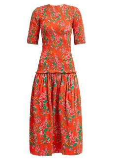 RHODE Zola shirred floral-print cotton midi dress