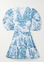 Rhode Rosie Printed Cotton-voile Mini Wrap Dress