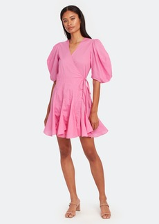 Rhode Rosie Puff Sleeve Wrap Mini Dress - L - Also in: S