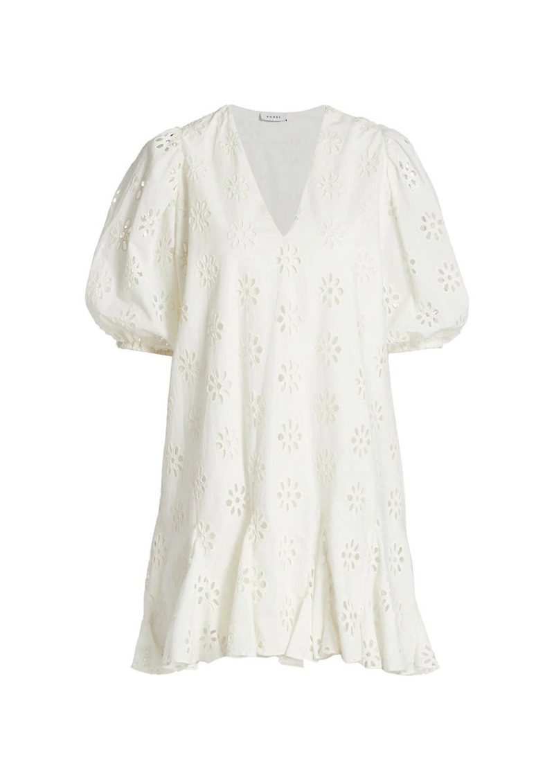 Rhode Saira Puff-Sleeve Cotton Eyelet Dress