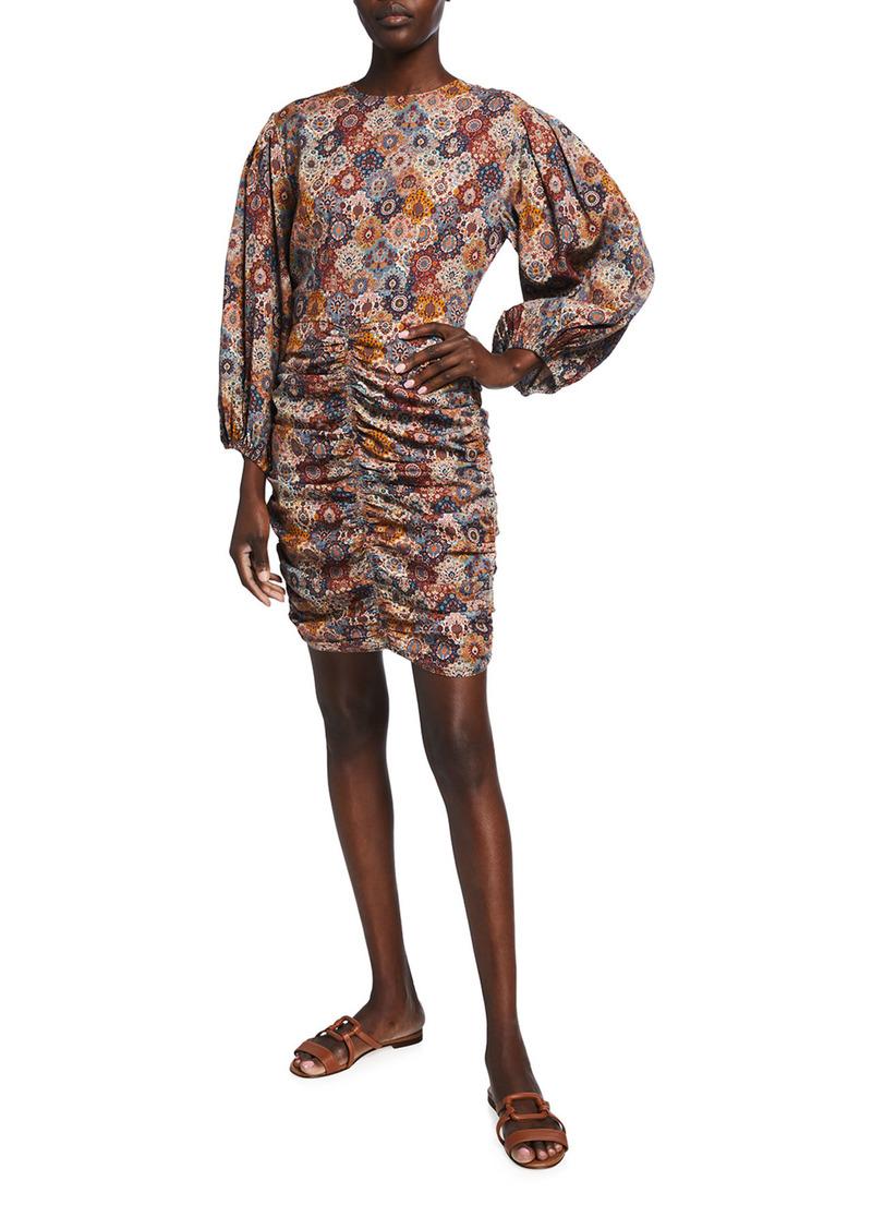 Rhode Sasha Tabriz-Print Mini Dress