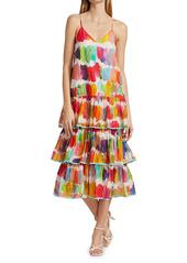 Rhode Vena Multicolor Tier-Ruffle Midi Dress