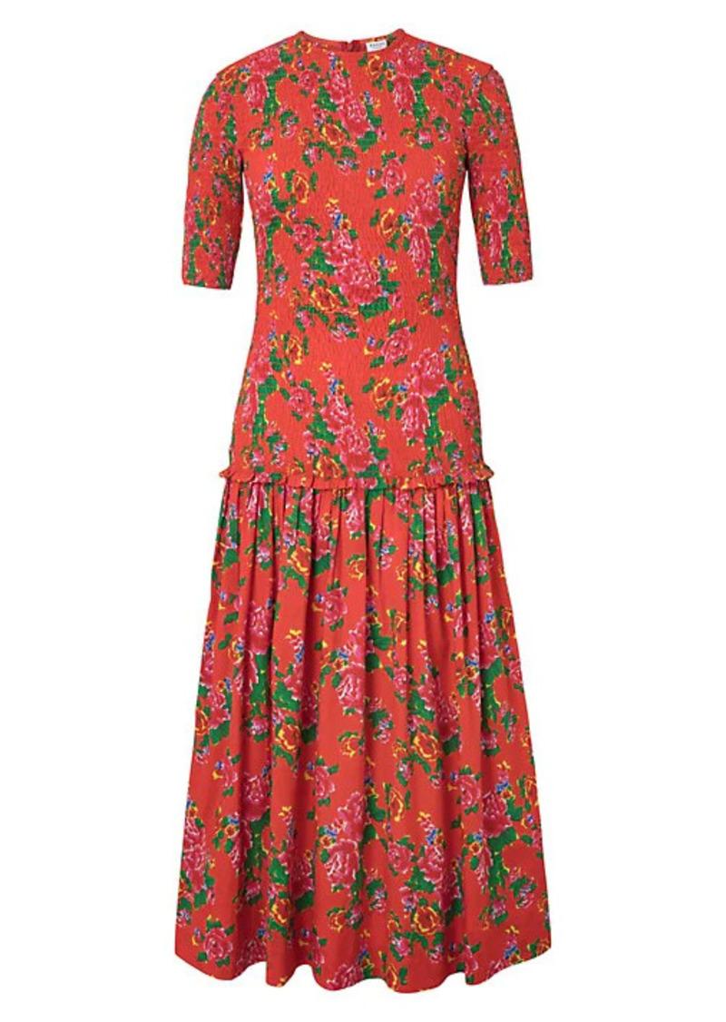 Rhode Zola Floral-Print Cotton Midi Dress
