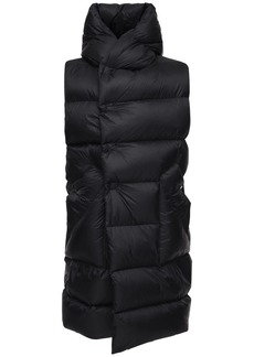 Rick Owens Nylon Long Down Vest W/ Hood