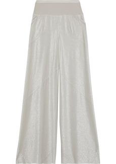 Rick Owens Lilies Woman Metallic Stretch-knit Wide-leg Pants Stone