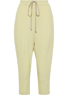 Rick Owens Woman Astaires Cropped Crepe De Chine Track Pants Sage Green