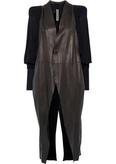 Rick Owens Woman Batwing Jersey-paneled Leather Coat Black