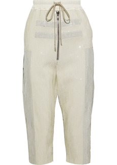 Rick Owens Woman Bela Cropped Sequined Cotton Track Pants Ivory
