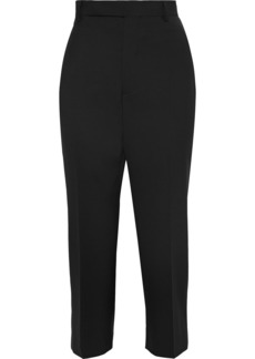 Rick Owens Woman Easy Astaires Cropped Woven Tapered Pants Black