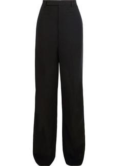 Rick Owens Woman Loose Tux Satin-trimmed Wool-blend Crepe Wide-leg Pants Black